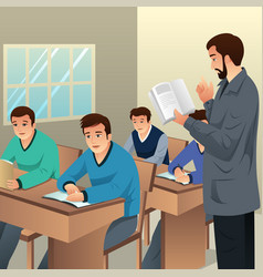 College students in classroom vector