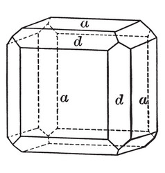 Cube and dodecahedron vintage vector