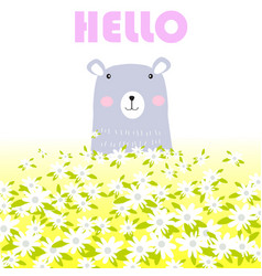 cute hello teddy bear in spring garden vector image