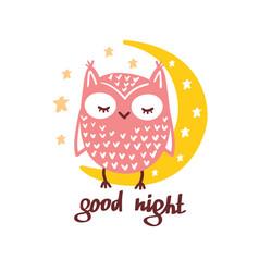 Cute owl sleeping moon in sky vector