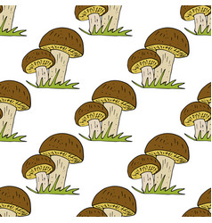 Doodle style seamless pattern with forest vector