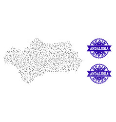 Dotted map of andalusia province and grunge seal vector