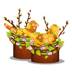 easter decor with willow branches silhouettes of vector image