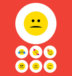 flat icon emoji set of displeased sad party time vector image