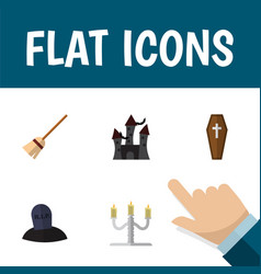 Flat icon halloween set of fortress broom tomb vector