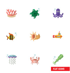 Flat icon marine set of tortoise medusa tentacle vector