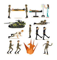 flat icons set of military people and vector image