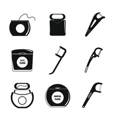 floss dental teeth icons set simple style vector image