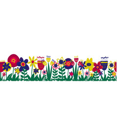 Flower meadow seamless border hand drawn vector