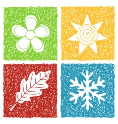 Four seasons doodle icons vector image