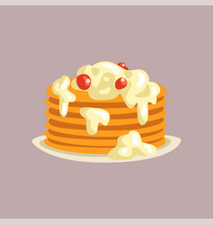 fresh tasty pancakes with cream and berries on a vector image