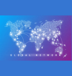 global network worldwide communication and vector image