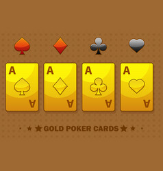golden four ace poker playing cards icons vector image