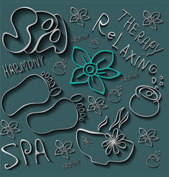 Hand drawn set spa attributes template vector