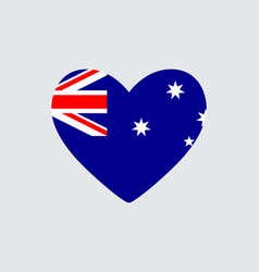 Heart in colors and symbols of the australia flag vector