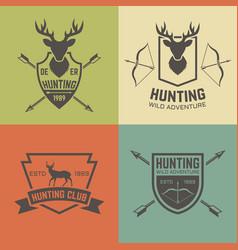 hunting club set of vintage emblems vector image
