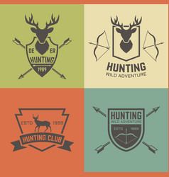 hunting club set vintage emblems vector image