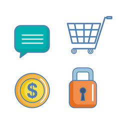 Icons for mobile app marketing and online shopping vector
