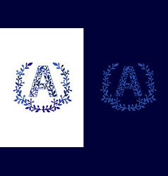 initial letter a with floral frame vector image