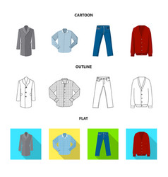 Isolated object of man and clothing icon set of vector