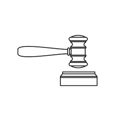 Judge gavel and soundboard icon outline style vector image