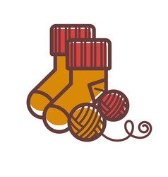 Knitted warm socks and balls woolen threads vector