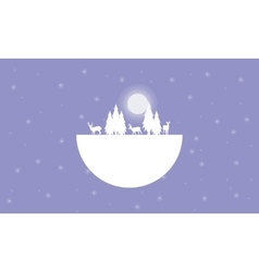 Landscape christmas theme of silhouettes vector