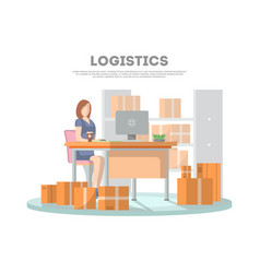Logistics poster with services operator vector