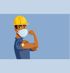 Male worker showing vaccinated arm vector
