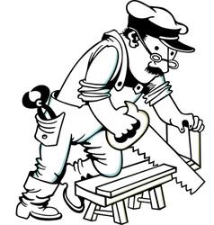 Man Sawing Wood vector image vector image