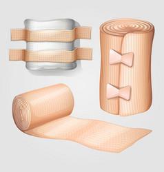Medical gauze and bandage set vector