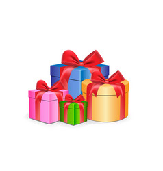 multi-colored gift boxes different shapes with vector image