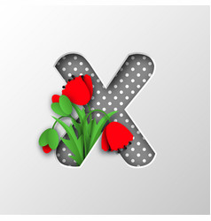 paper cut letter x with poppy flowers vector image