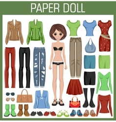 Paper doll with clothes vector
