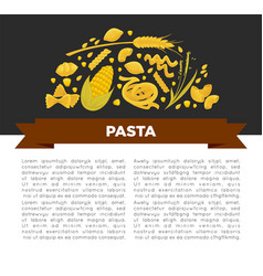 Pasta poster design for italian food cuisine or vector