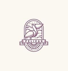 Pelican line art mono design template vector