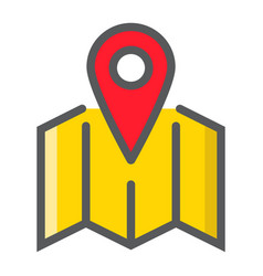 pinpoint on map filled outline icon geolocation vector image