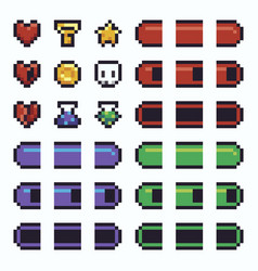 pixel art ui elements vector image