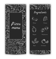 pizza menu doodle style vector image