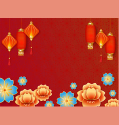 Red background with chinese lanterns and flowers vector