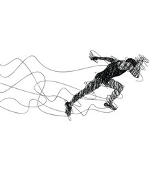 running sketch lines drawing vector image