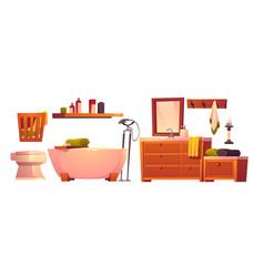 Rustic bathroom stuff in retro style isolated set vector