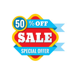 sale 50 off - concept in flat vector image