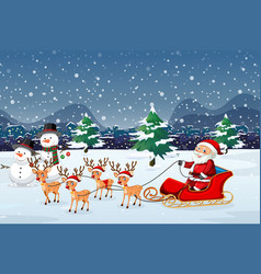 santa riding sleigh outdoor vector image