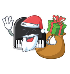 Santa with gift piano mascot cartoon style vector