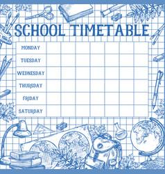 School sketch timetable schedule template vector