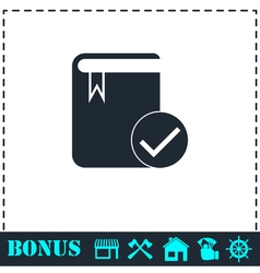 Selected book icon flat vector
