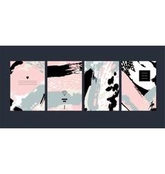 Set abstract creative handmade greeting cards vector