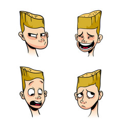 Set of emotions of a blonde boy vector