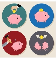 Set of Piggy bank vector image